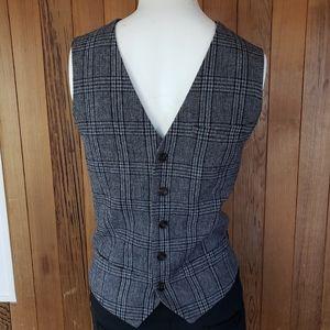 NWOT Topman Wool Blend Plaid Waistcoat Vest